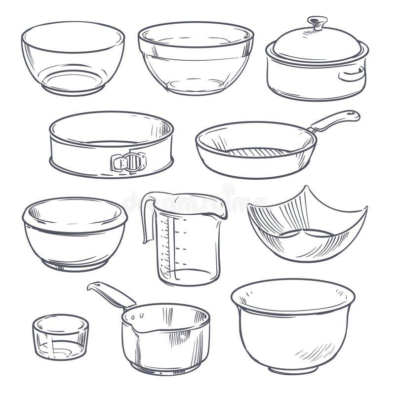 Van het krabbelplastiek en glas kommen, pot en pan Uitstekende hand getrokken geïsoleerde vector cookware royalty-vrije illustratie