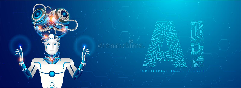 Van het kunstmatige intelligentie (AI) ontvankelijk Web Menselijk de bannerontwerp, royalty-vrije illustratie