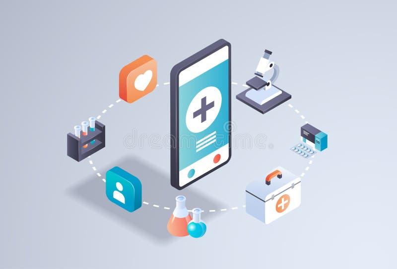 Van het het laboratoriumconcept van de gezondheidszorg test de mobiele toepassing online medische geneeskunde van het smartphones stock illustratie