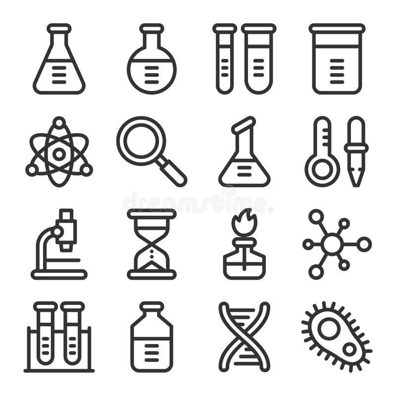 Van het het laboratoriumoverzicht van de chemiewetenschap vector het pictogramreeks royalty-vrije illustratie
