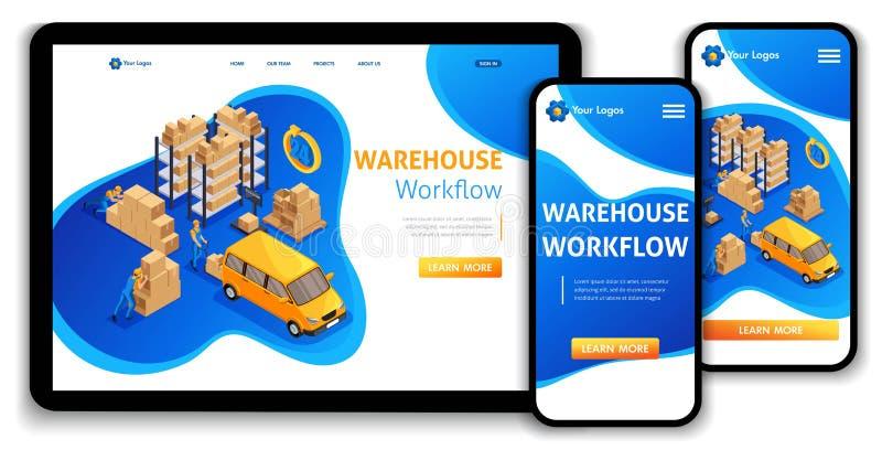 Van het het Landingspagina steunt het Isometrische concept van het websitemalplaatje het pakhuiswerkschema, Logistisch Pakhuis di royalty-vrije illustratie