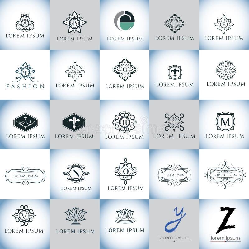Van het luxe kalligrafische vectoralfabet en embleem het embleemreeks van ontwerpelementen royalty-vrije illustratie