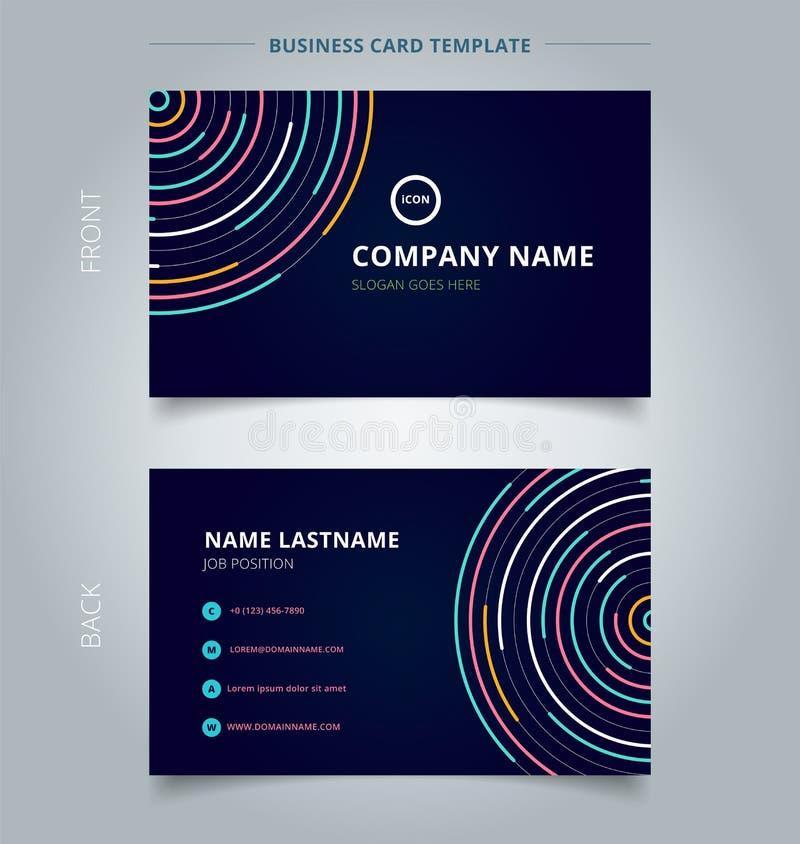 Van het malplaatje abstract kleurrijk lijnen van de naamkaart helder de cirkelspatroon op donker achtergrondtechnologieconcept royalty-vrije illustratie