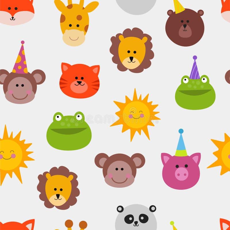Van het het masker vector vastgestelde festival van dierencarnaval van de de decoratiemaskerade het patroonaap, leeuw, kat, kikke royalty-vrije illustratie