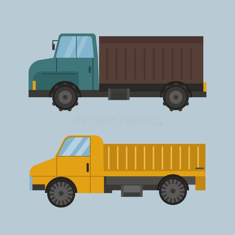 Van het materiaalmachines van het landbouw industriële landbouwbedrijf de tractor bruine vrachtwagen en geel landelijk de auto va vector illustratie