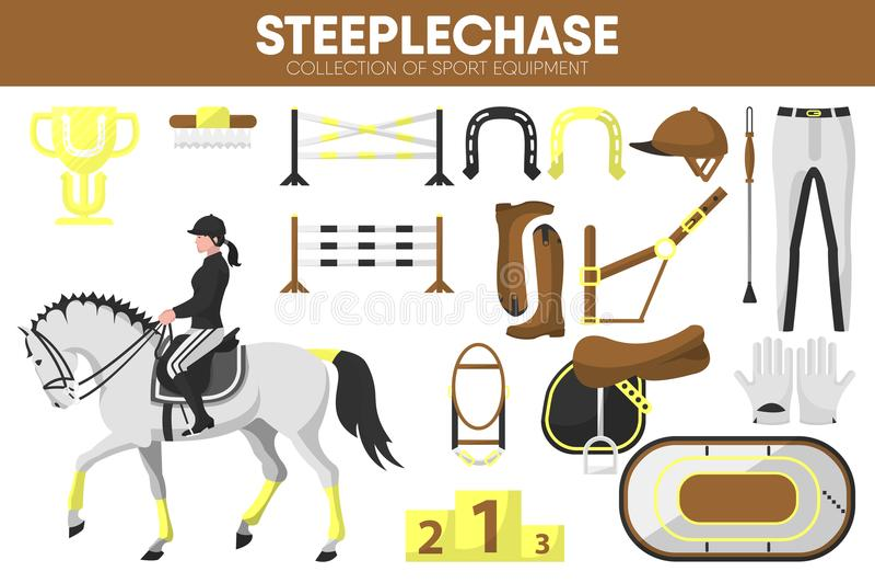 Van het het materiaalpaardenrennen van de steeplechasesport van het de ruiterkledingstuk de bijkomende vector geplaatste pictogra vector illustratie