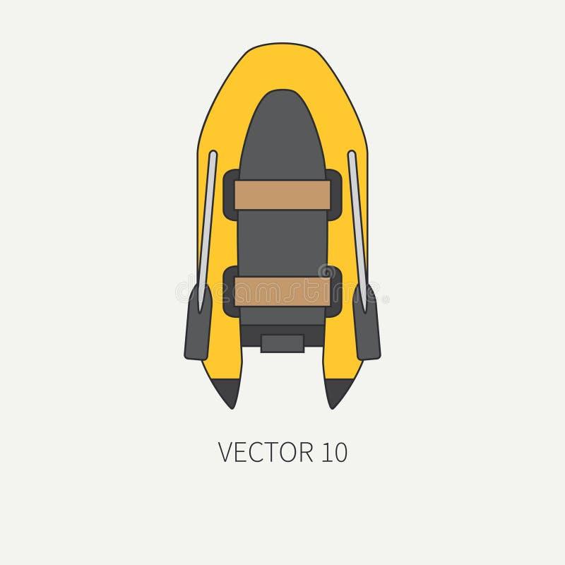 Van het het materiaalpictogram van de lijn de vlakke duidelijke vector onderwaterduiker rubberboot Retro stijl Oceaan, overzees s royalty-vrije illustratie