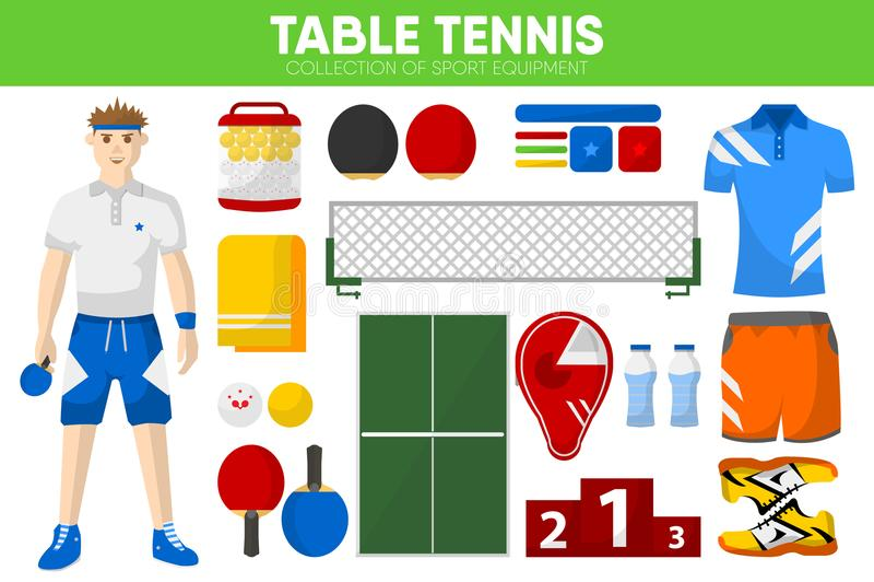 Van het het materiaalspel van de pingpongsport van het de spelerkledingstuk de bijkomende vector geplaatste pictogrammen vector illustratie