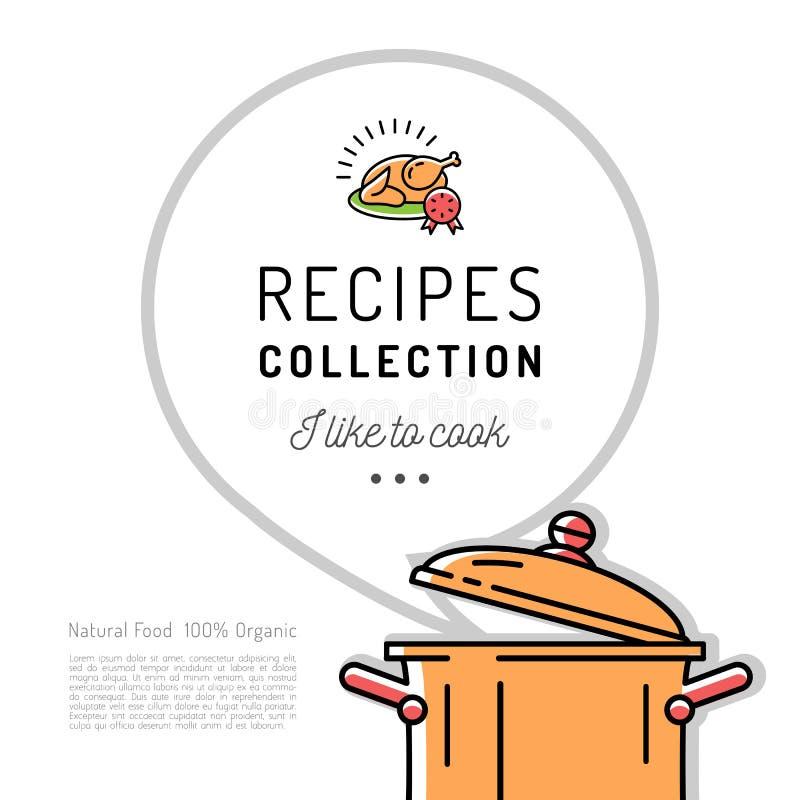 Van het het Menumalplaatje van het receptenboek het Kookboekdekking Kokende pot, Toespraakbel met ruimte voor tekst Vector minima stock illustratie