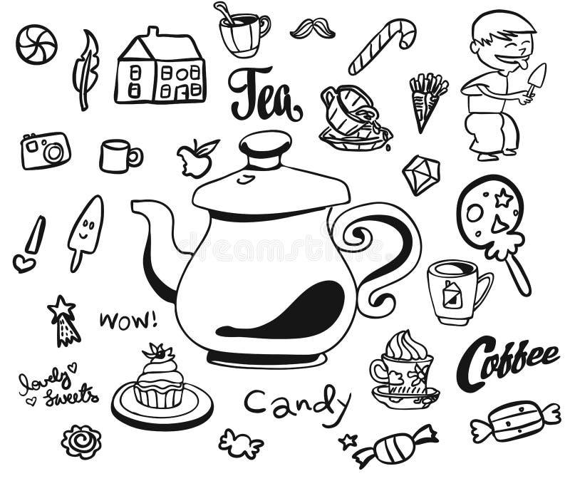 Van het middagthee en Ontbijt Krabbels royalty-vrije illustratie
