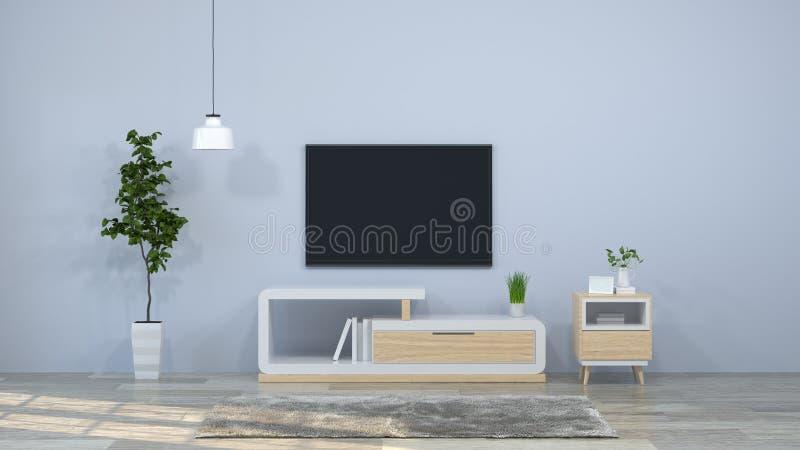 Van het modelmalplaatje hangt het binnenlandse houten kabinet als achtergrond met het hangen van lampen in moderne lege ruimte 3d royalty-vrije illustratie