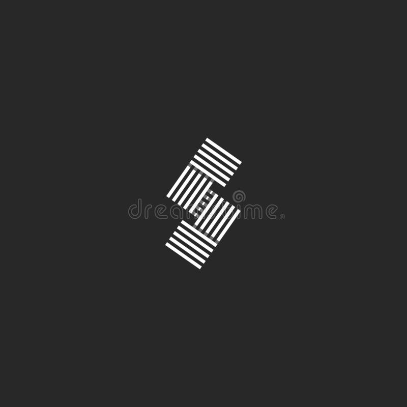 Van het monogram parallel zwart-wit gestreept overlappend lijnen van het brievens embleem lineair het ontwerpelement Creatief ide vector illustratie
