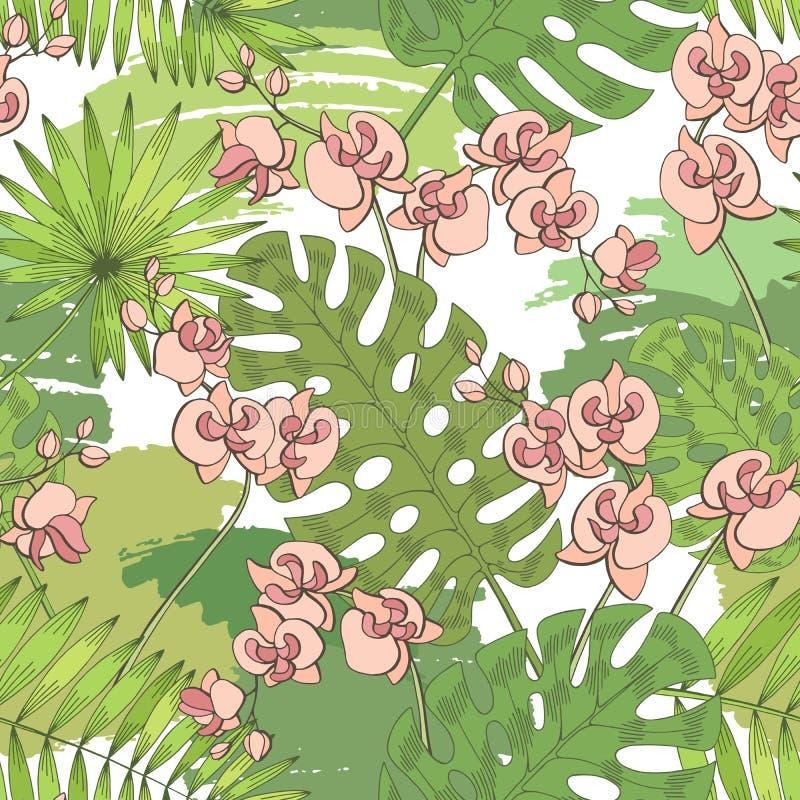 Van het monsterapalmblad van de orchideebloem van het de achtergrond kleuren naadloze patroon de grafische groene roze vector van vector illustratie