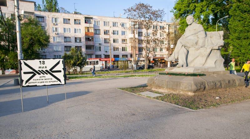 Van het monumentenvladimir ilyich ulyanov van Lenin het beeldhouwwerk Simferopol, de Oekra?ne, stock fotografie