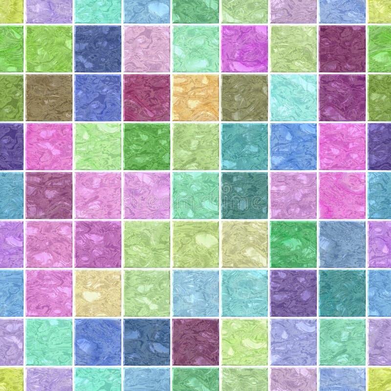 Van het het mozaïekpatroon van de oppervlaktevloer de naadloze achtergrond met witte pleister - leuke pastelkleur - vierkante vor royalty-vrije illustratie