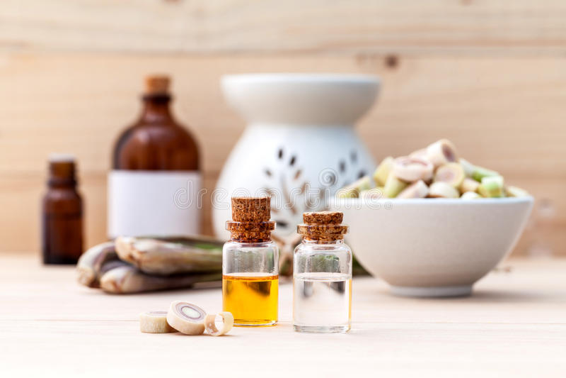 Van het Natural Spa de etherische olie Ingrediëntencitroengras royalty-vrije stock foto's