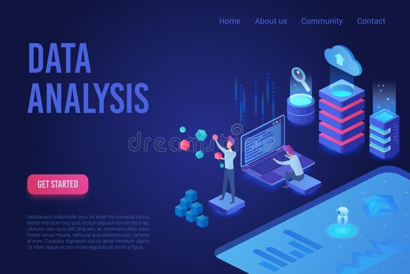 Van het het neonlicht isometrisch Web van de gegevensanalyse donker de banner vectormalplaatje stock illustratie