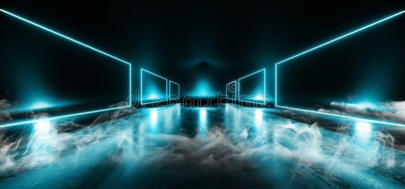 Van het het Neonstadium van de rookgarage van de de Showcaseclub de Laser Trillende Lichtgevende Blauwe Chaotische Driehoek Donke stock illustratie