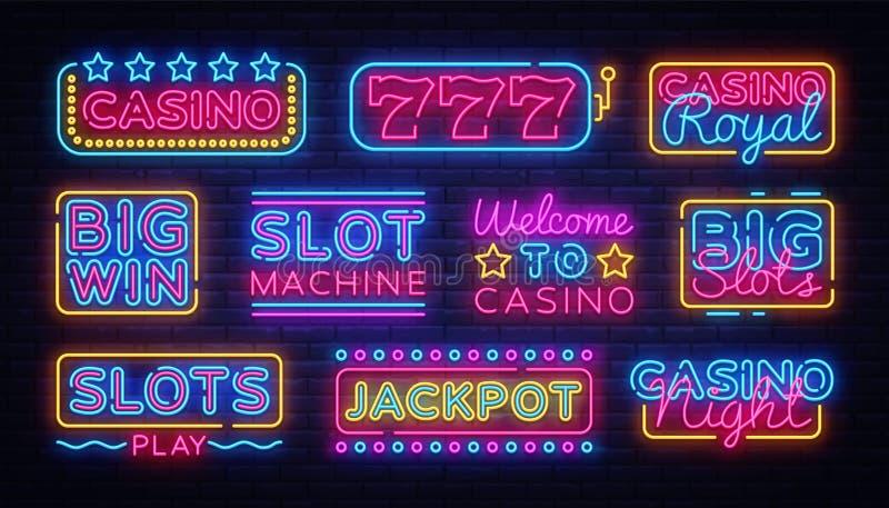 Van het Neontekens van de casinoinzameling vector het ontwerpmalplaatje Het embleem van het casinoneon, lichte het elementen kleu royalty-vrije illustratie