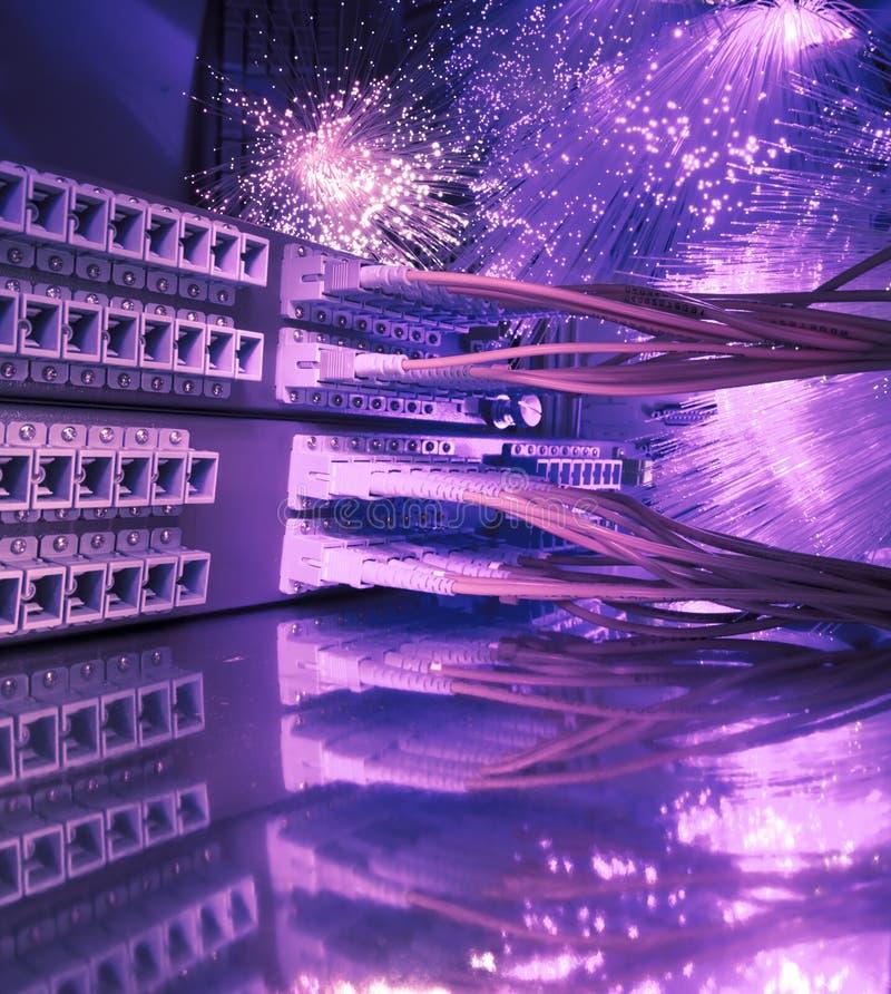 Van het netwerkkabels van de vezel optisch het flardpaneel royalty-vrije stock afbeeldingen