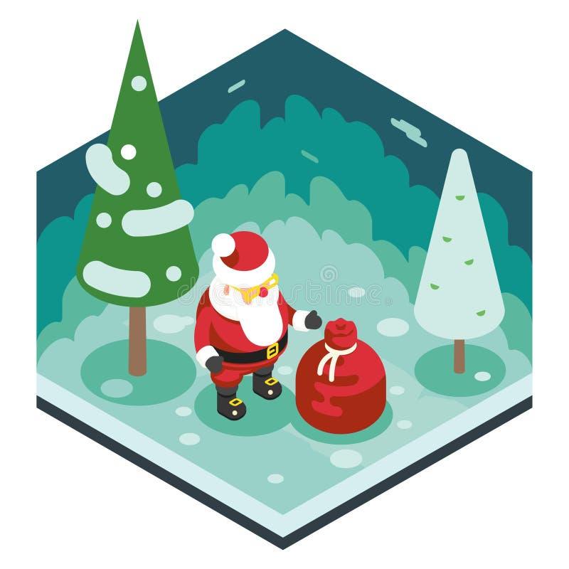 Van het Nieuwjaarforest wood background isometric van Kerstmissanta claus grandfather frost gift bag Malplaatje van het het Ontwe stock illustratie