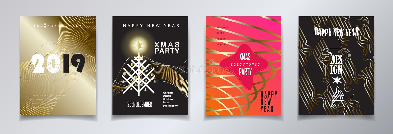 2019 van het Nieuwjaarkerstmis van de de Wintervakantie Gelukkige van de de Gebeurtenisluxe Geplaatste de Decoratie Gouden KAARTE vector illustratie