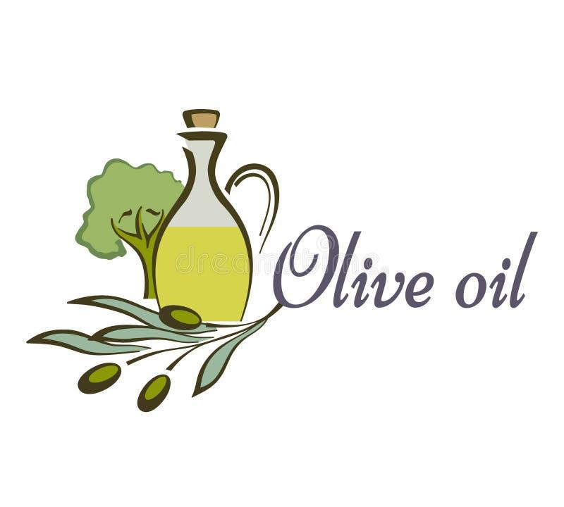 Van het olijfoliefles en product etiketmalplaatjes Vectorpictogrammen van groene olijventak en extra maagdelijke natuurlijke orga royalty-vrije illustratie