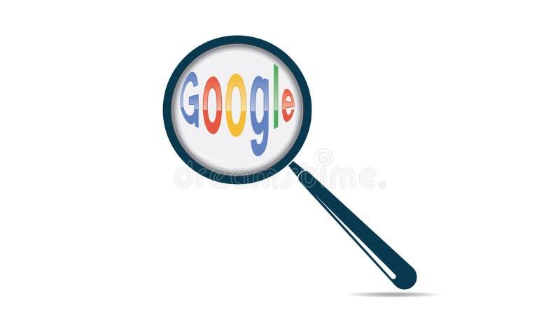 Van het Onderzoeksgoogle van Webinternet de Tekst en het Vergrootglas stock illustratie