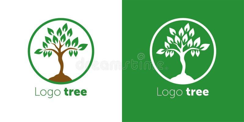 Van het het ontwerp vectormalplaatje van het boomembleem de abstracte Negatieve ruimtestijl De abstracte vectorillustratie van he vector illustratie
