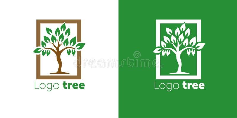 Van het het ontwerp vectormalplaatje van het boomembleem de abstracte Negatieve ruimtestijl De abstracte vectorillustratie van he royalty-vrije illustratie