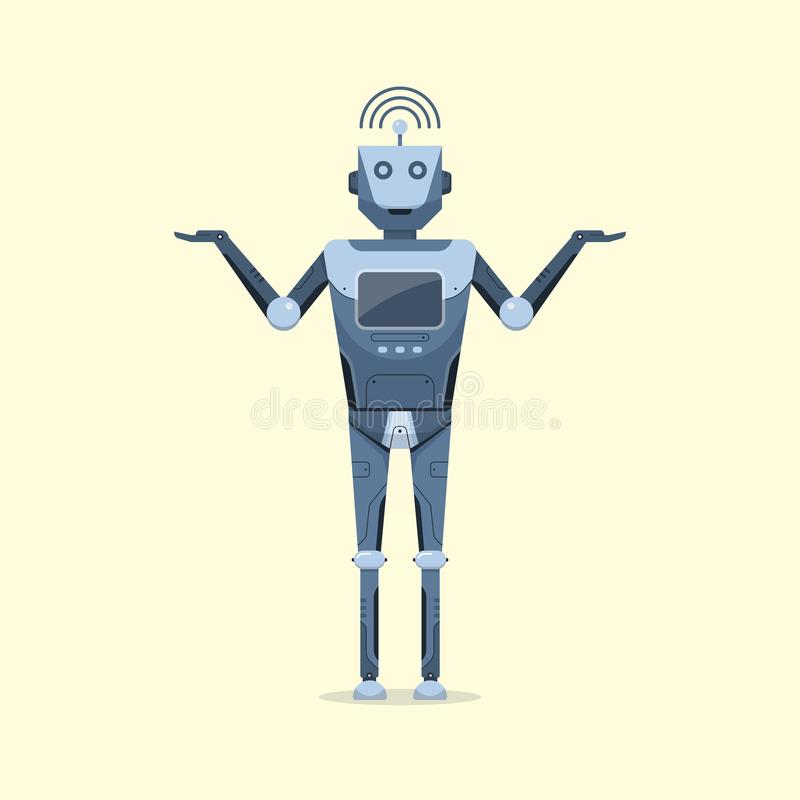 Van het het ontwerpbeeldverhaal van het robotkarakter kunstmatig intelligent toekomstig de technologieconcept stock illustratie