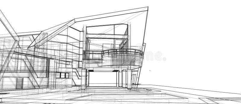 Van het het ontwerpconcept van de architectuur isoleerde het buitenvoorgevel 3d perspectief witte achtergrond stock illustratie