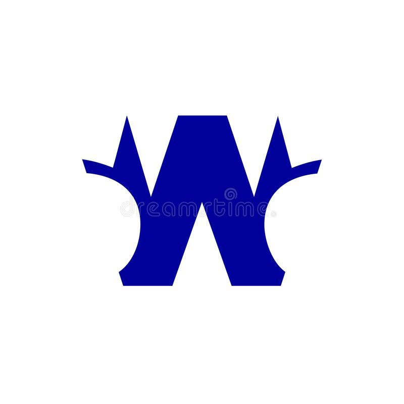 Van het het ontwerpembleem van de brievenw uniek blauw kleur brandmerkend de brievenelement royalty-vrije illustratie