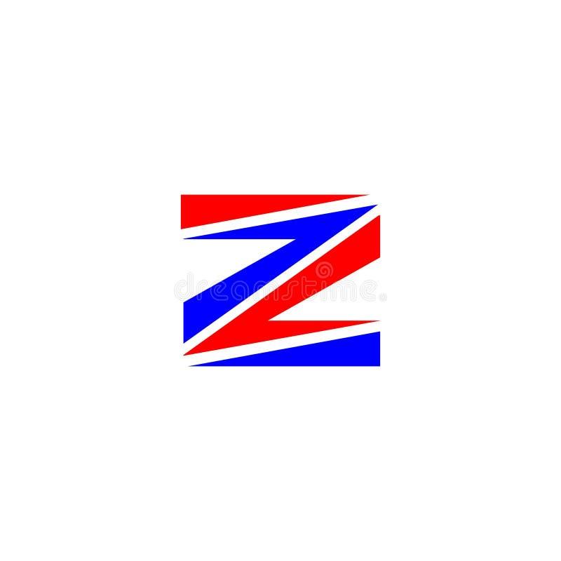 Van het het ontwerpembleem van de brievenz rood en blauw kleur brandmerkend de brievenelement vector illustratie