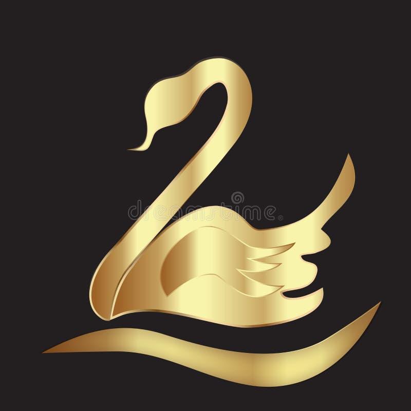 Van het ontwerpidentiteitskaart van de embleem het gouden zwaan vectormalplaatje van het het adreskaartjebeeld royalty-vrije illustratie