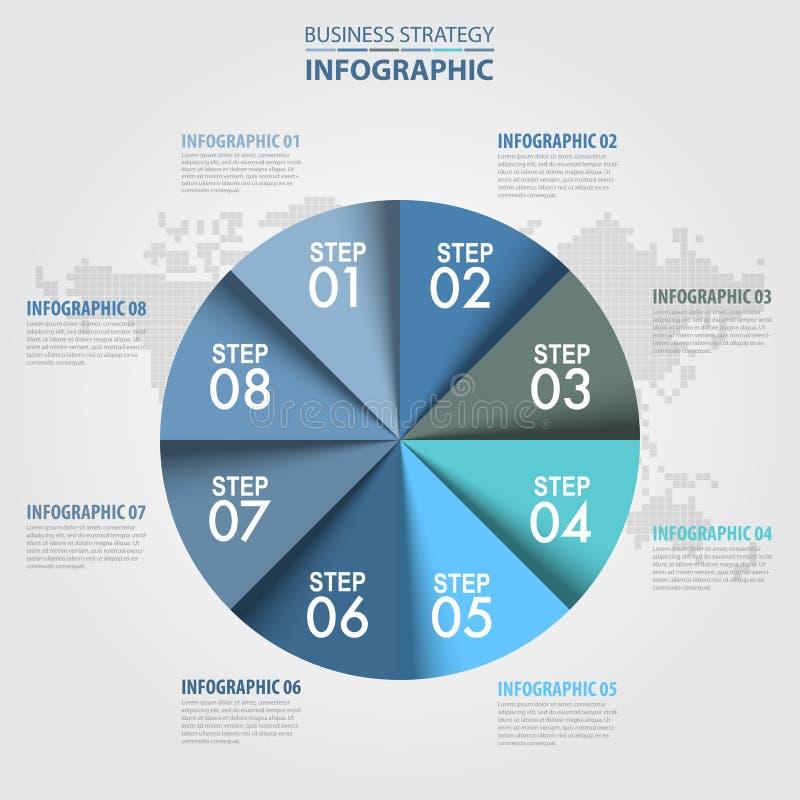 Van het het ontwerpmalplaatje cirkelgrafiek van de de bedrijfs van Infographics het blauwe grijs royalty-vrije illustratie