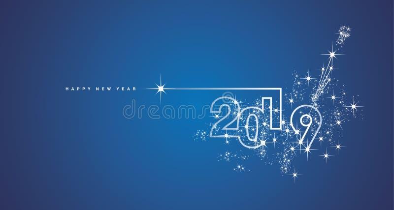 Van het het ontwerpvuurwerk van de nieuwjaar 2019 lijn de champagne witte blauwe vector vector illustratie