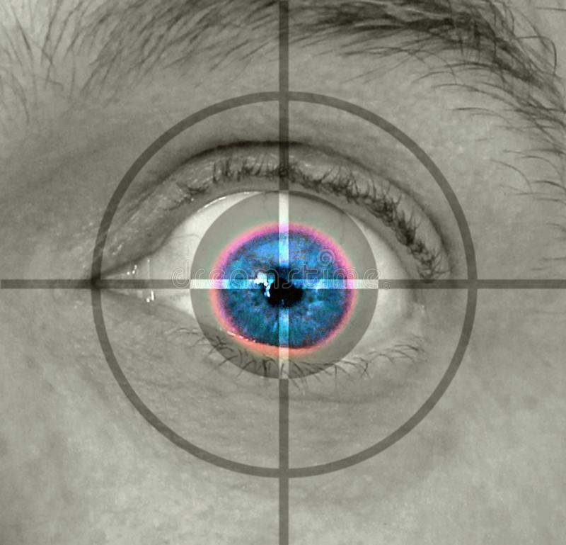 Van het het oogaftasten van de biometrieretina de veiligheidscontroletoezicht stock fotografie