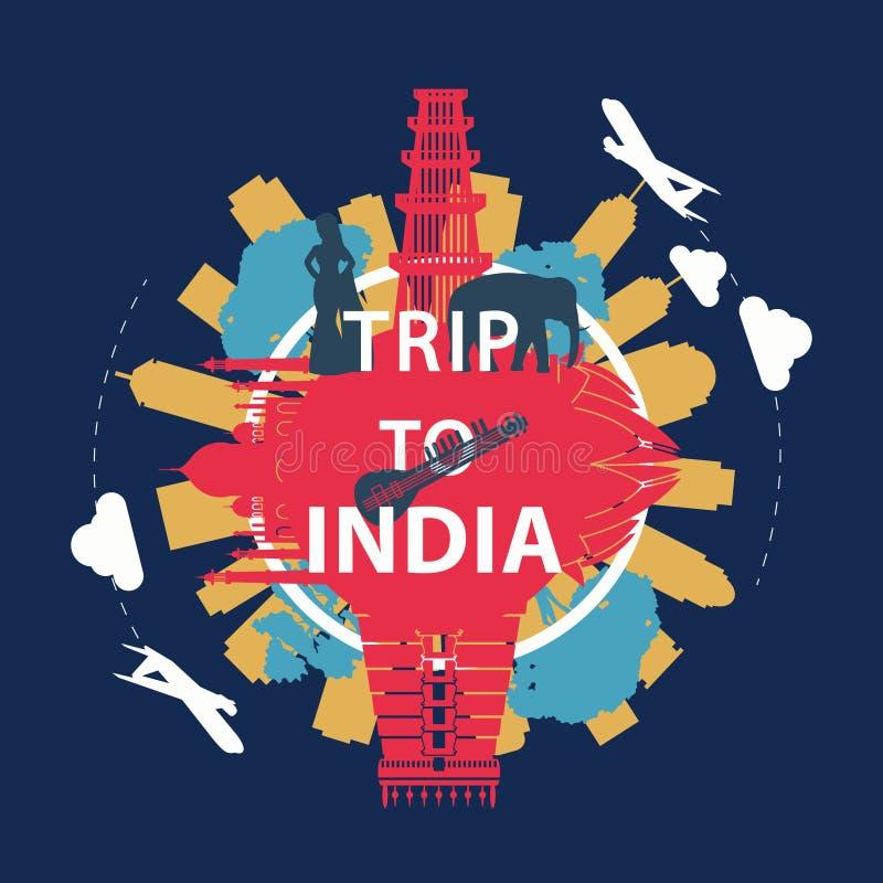 Van het het oriëntatiepuntsilhouet van India beroemde de bekledingsstijl rond tekst, uitstekend ontwerp royalty-vrije illustratie