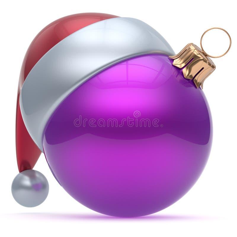 Van het het ornament purpere Nieuwjaar ` s van de Kerstmisbal de Vooravondversiering vector illustratie