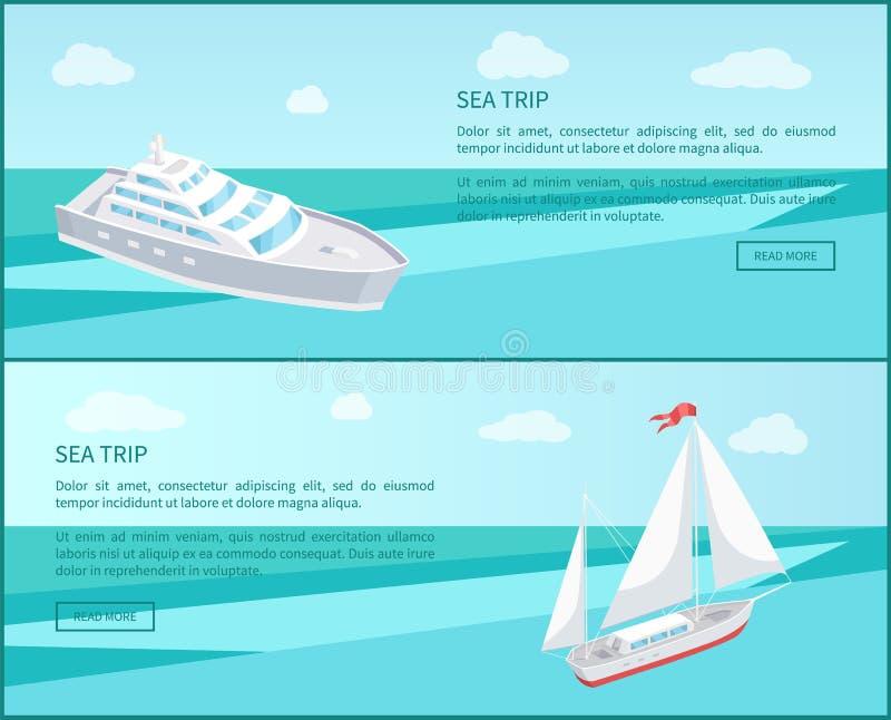 Van het overzeese van de de Affichespassagier Reisweb de Voering Marine Travel vector illustratie