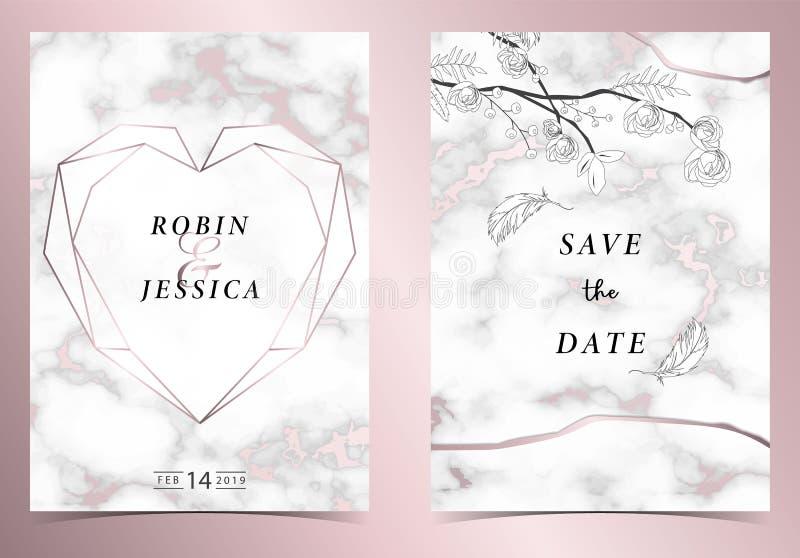 Van het het overzichtshuwelijk van de hartmeetkunde roze gouden de uitnodigingskaart met roze, blad, kroon, veertekening en kader stock illustratie