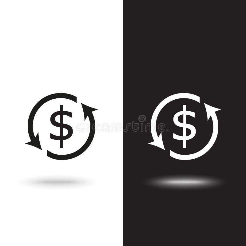 Van het het overzichtspictogram van de muntuitwisseling de zwarte die kleur op witte achtergrond op zwart-witte achtergrond wordt vector illustratie