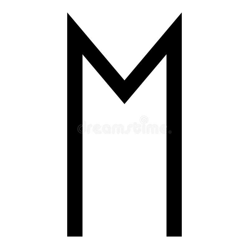 Van het het paard wheell geluk van de Ehwazrune van het het symboolpictogram van de de kleuren vectorillustratie zwart vlak de st royalty-vrije illustratie
