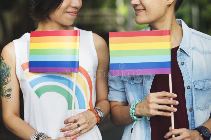 Van het Paarogenblikken van LGBT Lesbisch het Gelukconcept stock afbeelding