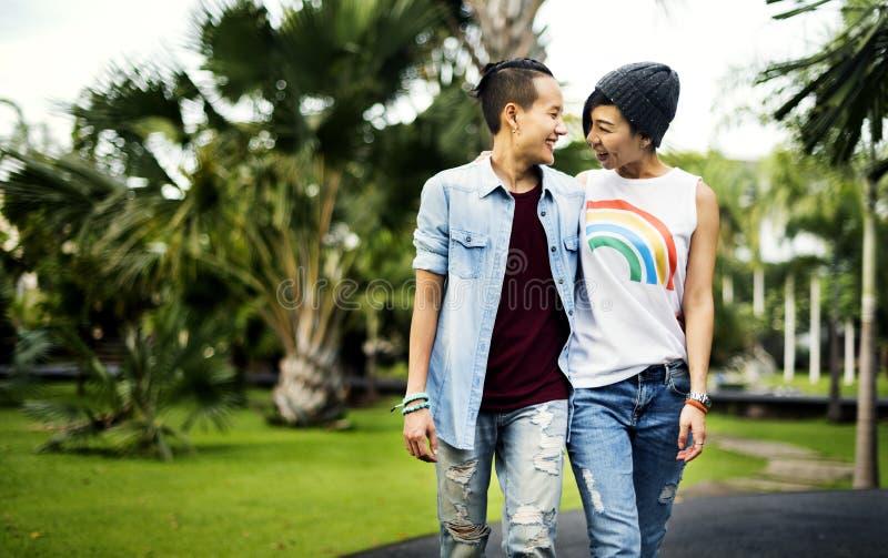 Van het Paarogenblikken van LGBT Lesbisch het Gelukconcept royalty-vrije stock foto