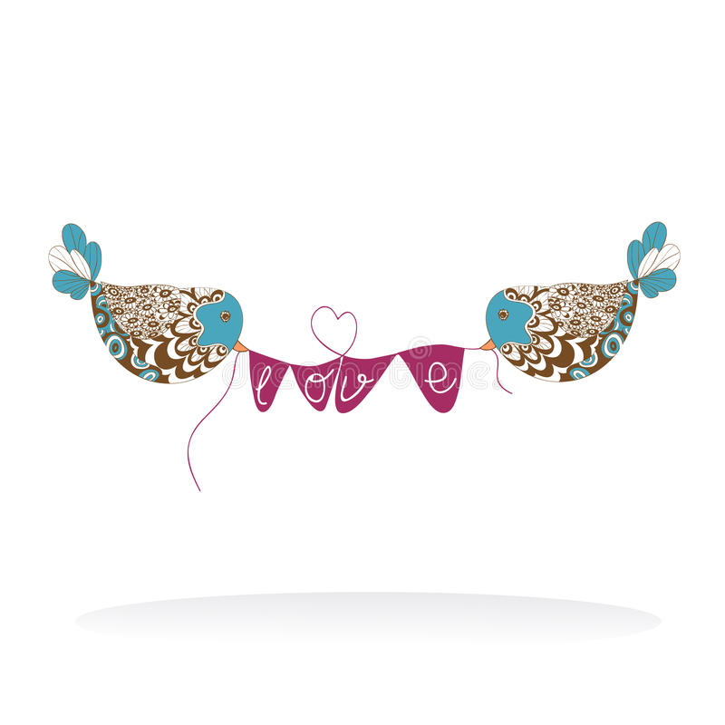 Van het paarvogels van de valentijnskaart de liefdeaanplakbord stock illustratie