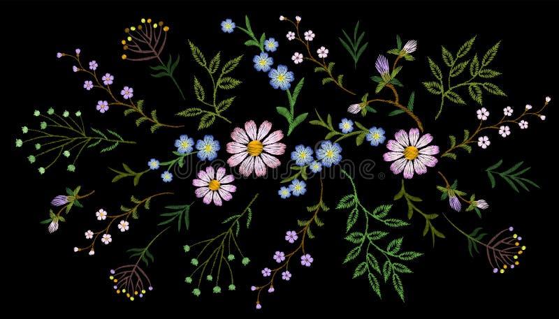 Van het patroon klein takken van de borduurwerktendens bloemen het kruidmadeliefje met weinig blauwe violette bloem Overladen tra vector illustratie