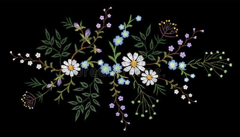 Van het patroon klein takken van de borduurwerktendens bloemen het kruidmadeliefje met weinig blauwe violette bloem stock illustratie
