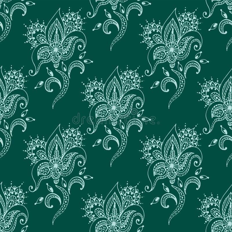 Van het patroonmehndi van de hennatatoegering naadloze van de de bloemkrabbel van het het ontwerppatroon sier decoratieve Indisch royalty-vrije illustratie